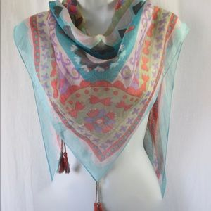 Beautiful Large Tasseled Silk Scarf Sheer Pastels